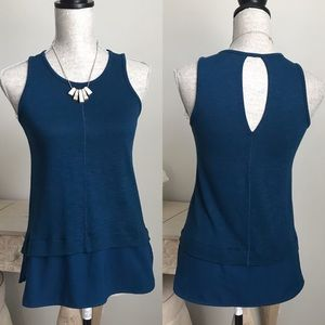 J. Crew Teal Blue Faux Layered Sleeveless Blouse